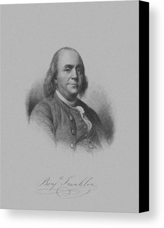 Benjamin Franklin Canvas Print featuring the mixed media Benjamin Franklin by War Is Hell Store