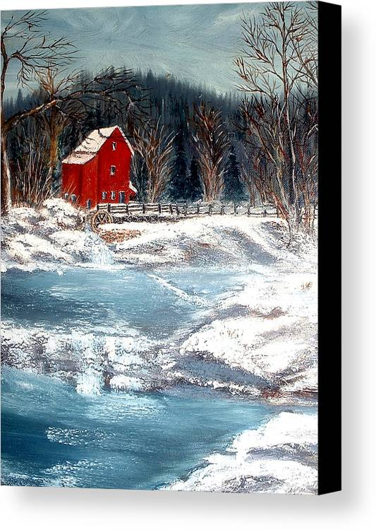 Landscape Mill Old Streem Creek Canvas Print featuring the painting Old Mill by Kenneth LePoidevin