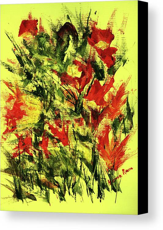 Abstract Flower Painting Canvas Print featuring the painting Abstract Flowers by Hema Rana