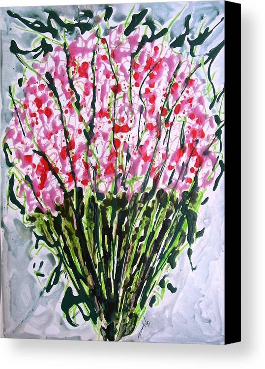Abstract Canvas Print featuring the painting Divine Flowers by Baljit Chadha