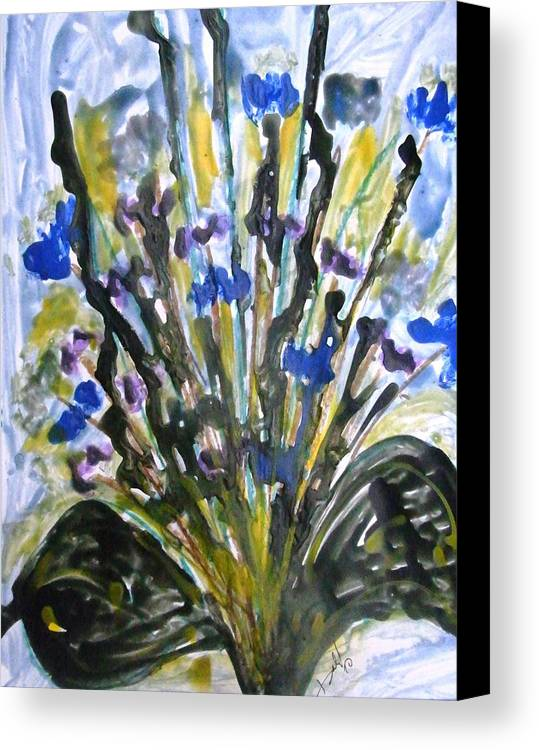 Flowers Canvas Print featuring the painting Divine Flowers by Baljit Chadha