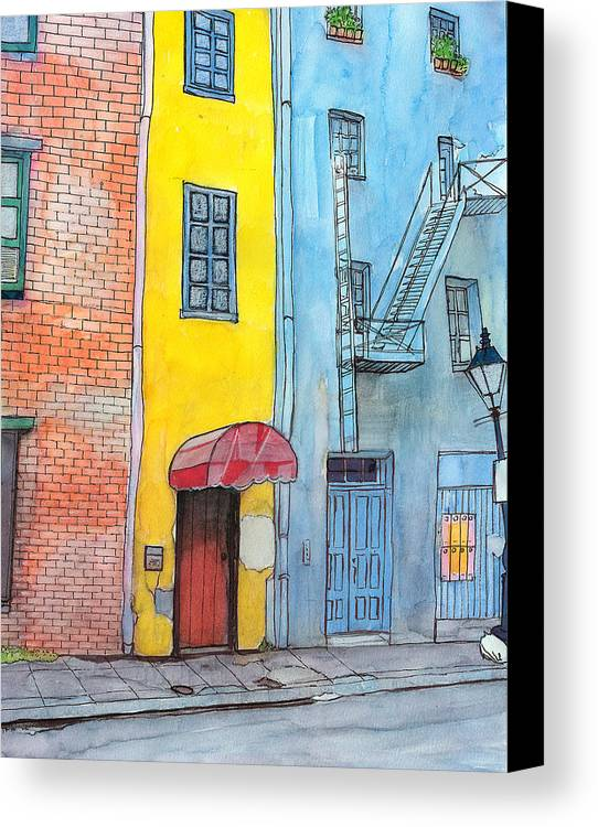 French Quarter Canvas Print featuring the painting 98 French Quarter Back Alley by John Boles