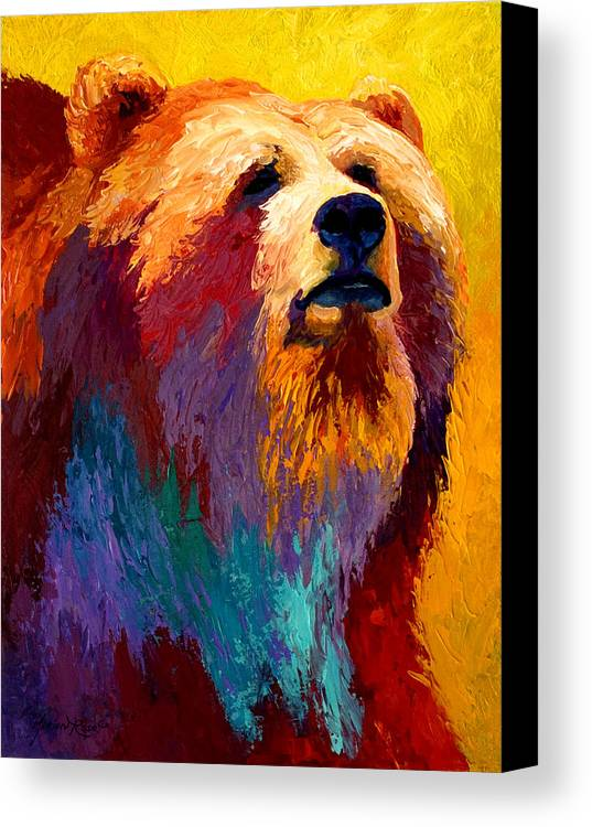 Western Canvas Print featuring the painting Abstract Grizz by Marion Rose