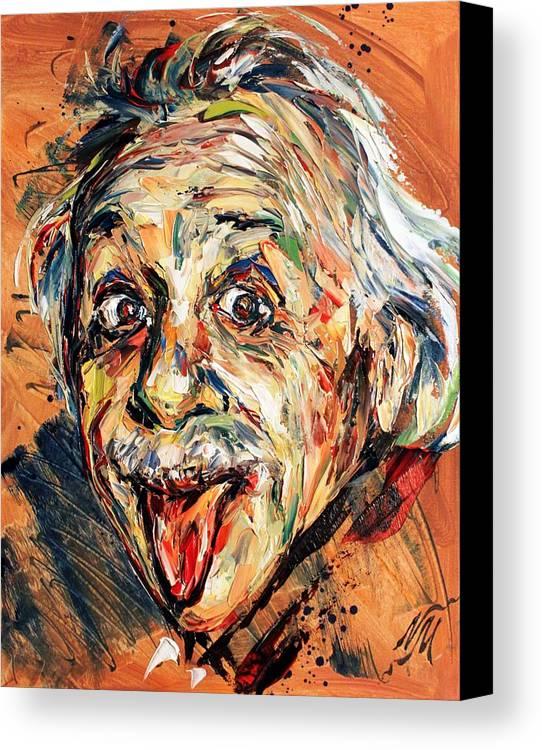 Portrait Canvas Print featuring the painting Albert Einstein by Natasha Mylius