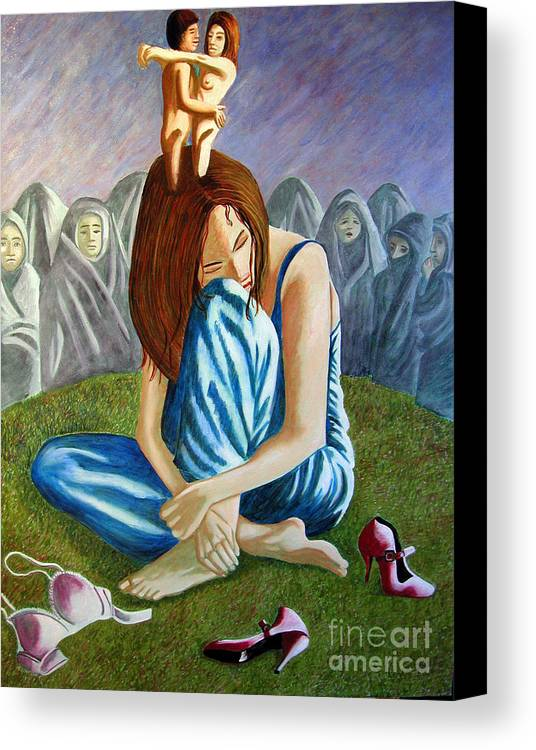 Identity (symbolic Art) Canvas Print featuring the painting Am I My Religion My Beliefs by Tanni Koens