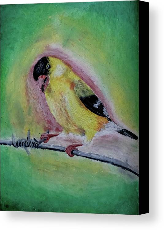 Bird Canvas Print featuring the pastel American Gold Finch by Joanie Leport