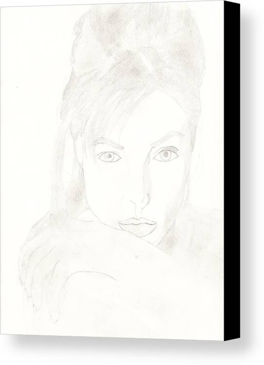 Celebrities Canvas Print featuring the drawing Angelina by Carlos Hyman
