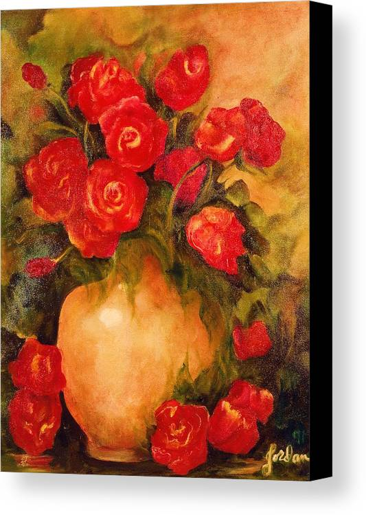 Pretty Canvas Print featuring the painting Antique Roses by Jordana Sands