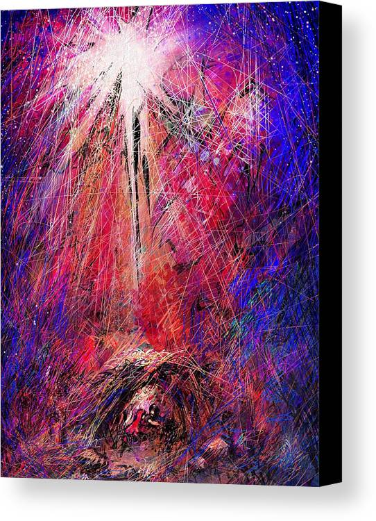 Manger Canvas Print featuring the digital art Away In A Manger by Rachel Christine Nowicki