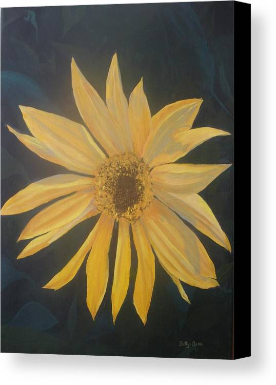 Flowers Canvas Print featuring the painting Baby Sunflower by Betty-Anne McDonald