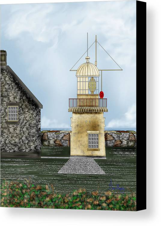 Lighthouse Canvas Print featuring the painting Ballinacourty Lighthouse At Waterford Ireland by Anne Norskog