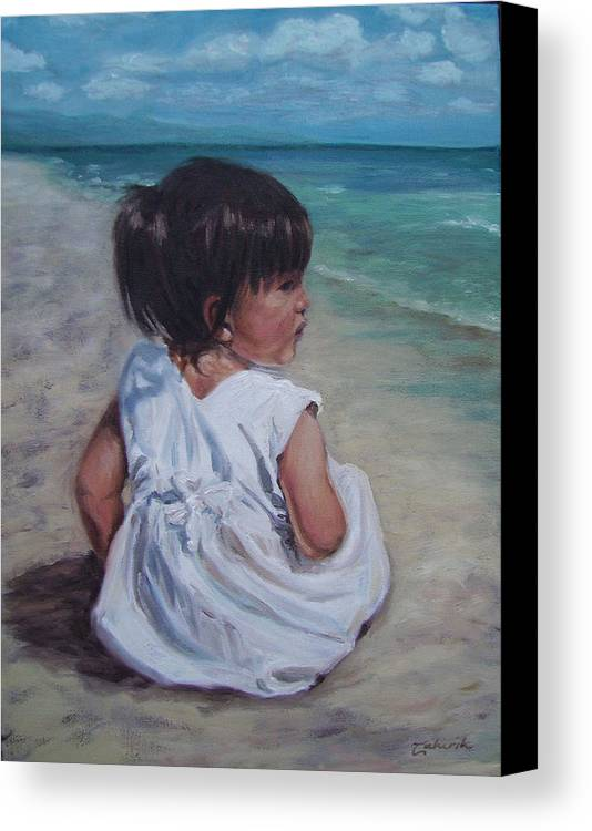 Children Canvas Print featuring the painting Beach Baby by Tahirih Goffic