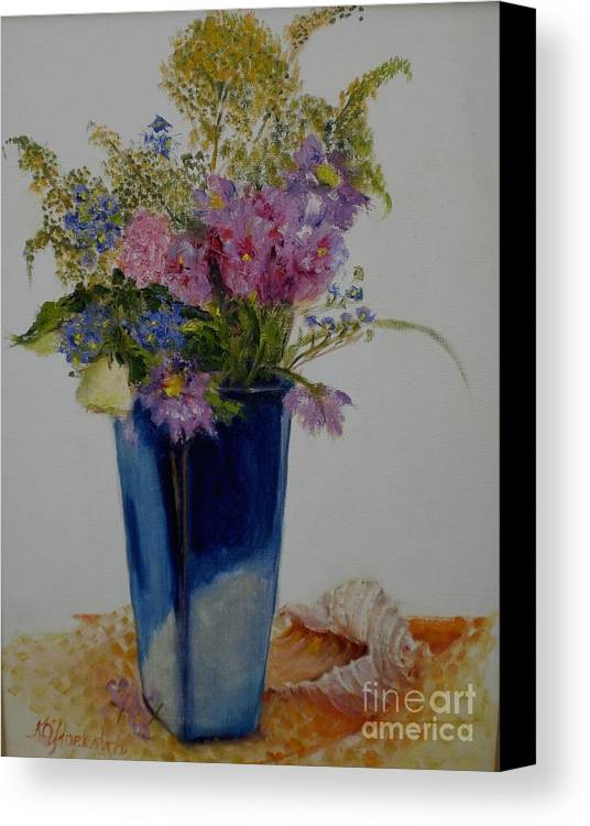Wildflowers Canvas Print featuring the painting Beach Wildflowers      Copyrighted by Kathleen Hoekstra