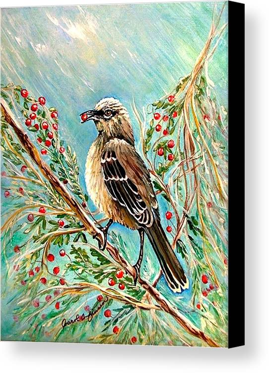 Mocking Bird Canvas Print featuring the painting Berry Picking Time by Carol Allen Anfinsen