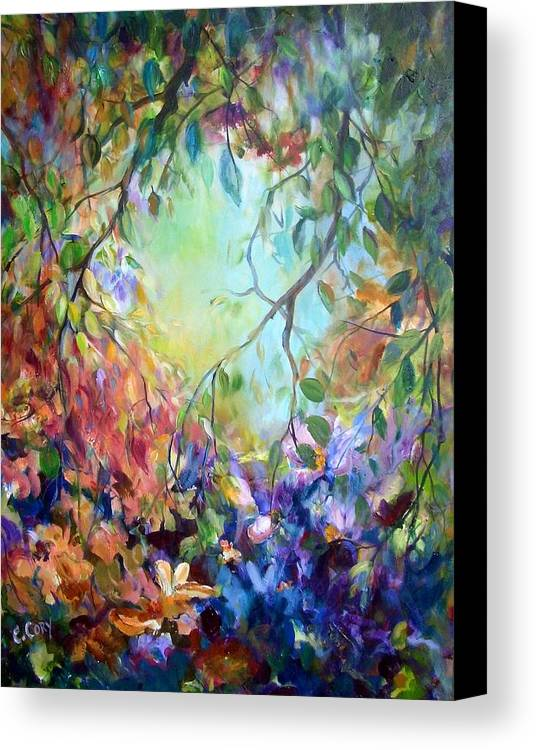 Painting Canvas Print featuring the painting Bettie's Backyard by Elaine Cory
