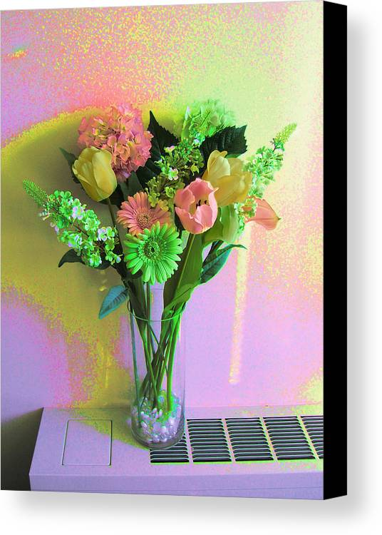 Modern Digital Art Canvas Print featuring the photograph Birthday Flowers by Monica Smith