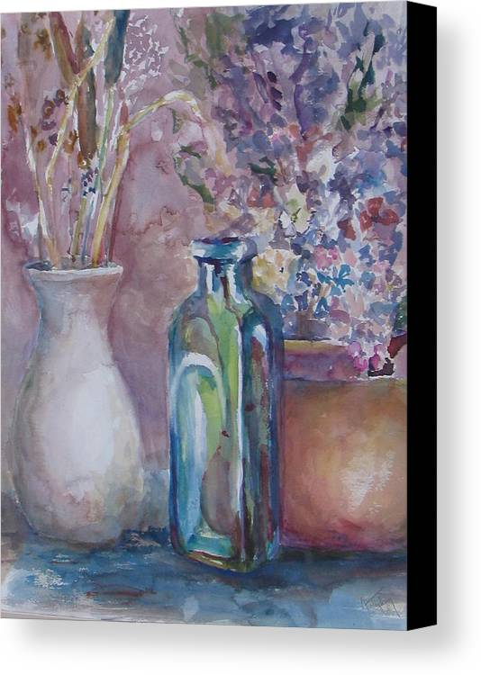 Canvas Print featuring the painting Blue Bottle by Dorothy Herron