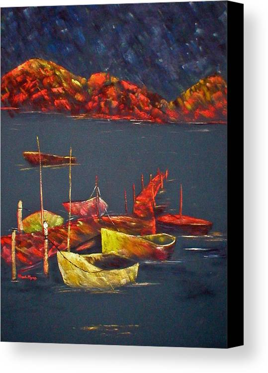 Boat Canvas Print featuring the painting Boats At Nightfall by Rhonda Myers