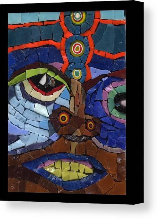 Mosaic Canvas Print featuring the painting Boxer - Fantasy Face No. 9 by Gila Rayberg