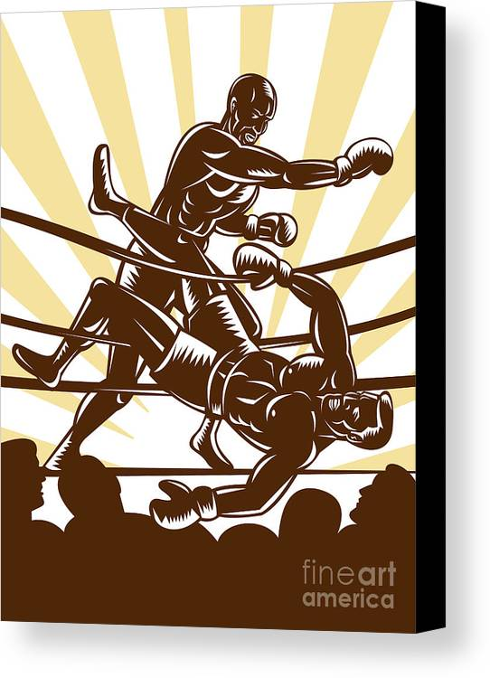 Boxing Canvas Print featuring the digital art Boxer Knocking Out by Aloysius Patrimonio