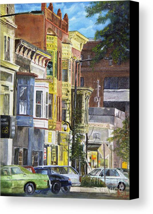 Cityscape Canvas Print featuring the painting Broad Street by CJ Rider