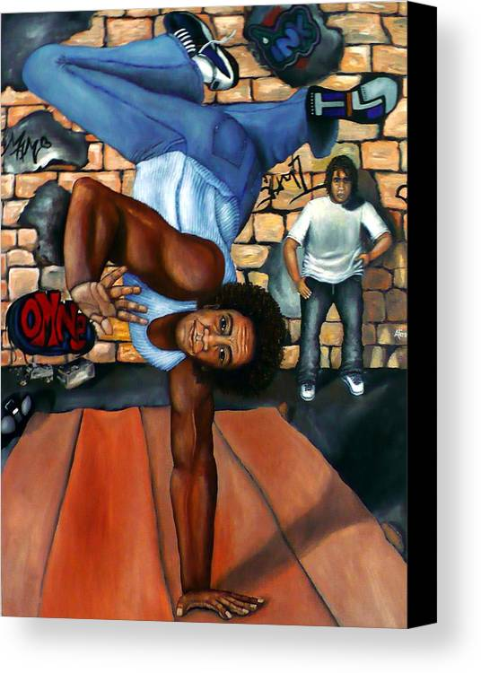 Breakdancing Canvas Print featuring the painting Bust A Move by Alima Newton