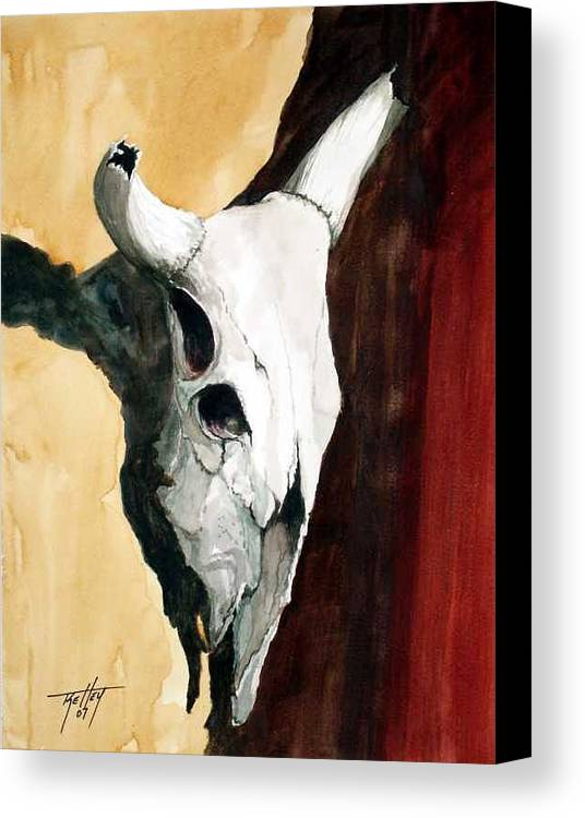 Skull Canvas Print featuring the painting By The Horns by Travis Kelley