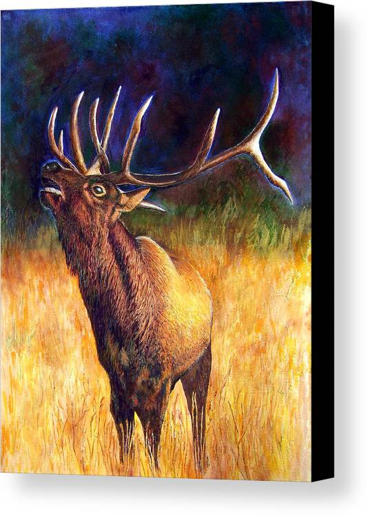Elk Canvas Print featuring the painting Call Of The Wild Elk by JoLyn Holladay