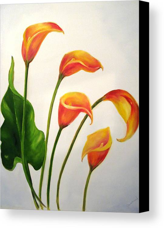 Calla Lilies Canvas Print featuring the painting Calla Lilies by Carol Sweetwood