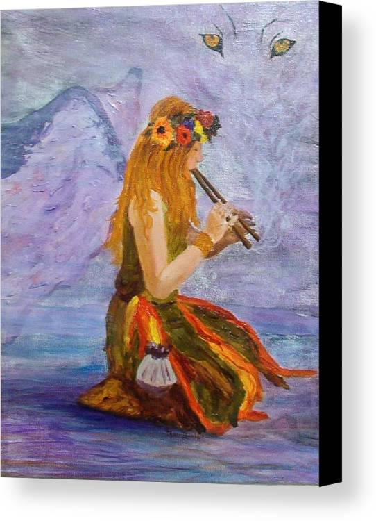 Canvas Print featuring the painting Calling The Wolf Spirit by Tami Booher