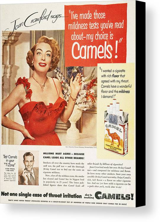 1951 Canvas Print featuring the photograph Camel Cigarette Ad, 1951 by Granger