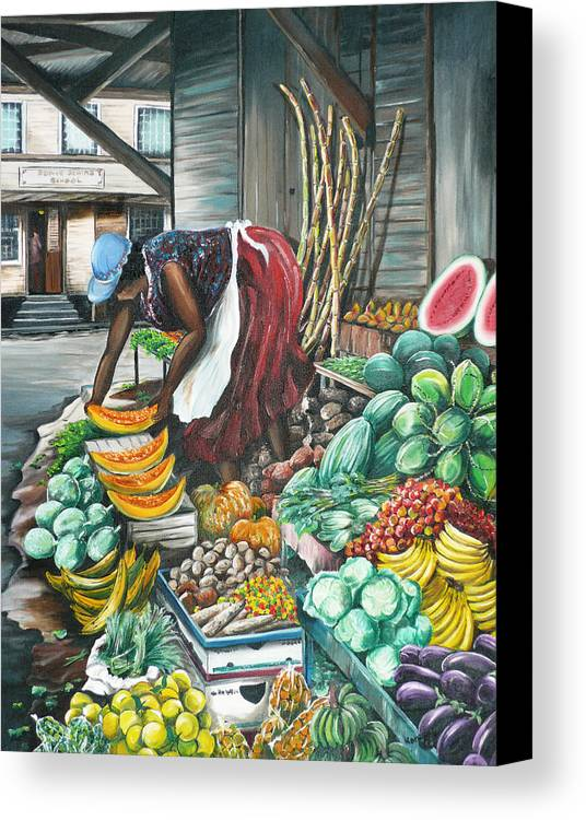 Caribbean Painting Market Vendor Painting Caribbean Market Painting Fruit Painting Vegetable Painting Woman Painting Tropical Painting City Scape Trinidad And Tobago Painting Typical Roadside Market Vendor In Trinidad Canvas Print featuring the painting Caribbean Market Day by Karin Dawn Kelshall- Best