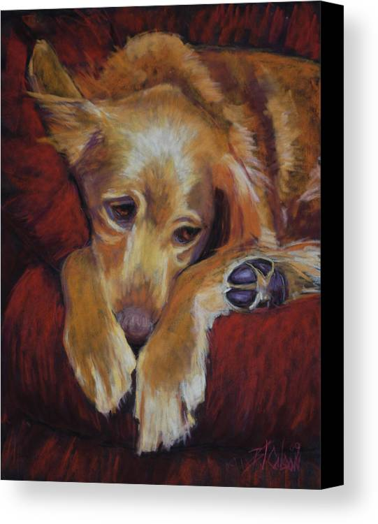 Sleeping Dog Canvas Print featuring the painting Close To Dreamland by Billie Colson