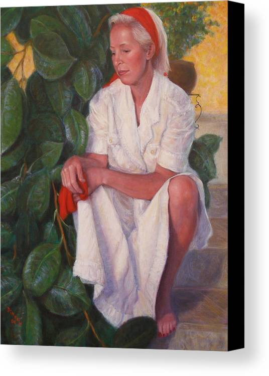 Realism Canvas Print featuring the painting Contemplation by Donelli DiMaria