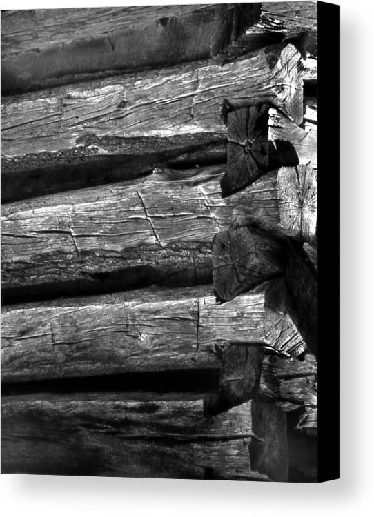 Ansel Adams Canvas Print featuring the photograph Corner-logs by Curtis J Neeley Jr