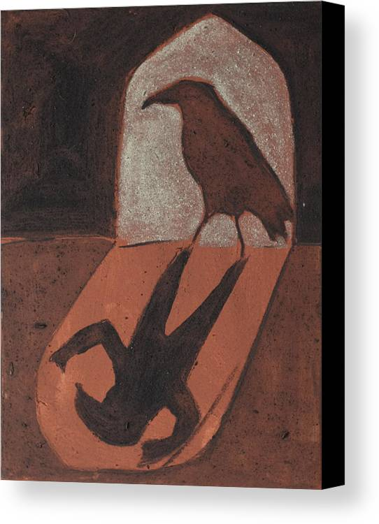 Crows Ravens Celtic Sacred Doorway Shadow Canvas Print featuring the painting Crow In The Doorway Of Life With Woad by Sophy White