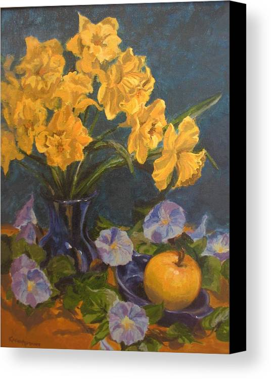 Still Life Canvas Print featuring the painting Daffodils by Karen Ilari