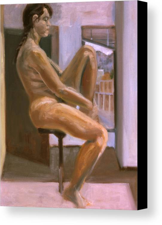 Woman Canvas Print featuring the painting Delicate Balance by John Clum