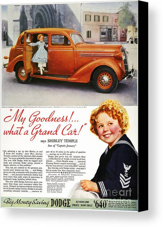 1936 Canvas Print featuring the photograph Dodge Automobile Ad, 1936 by Granger