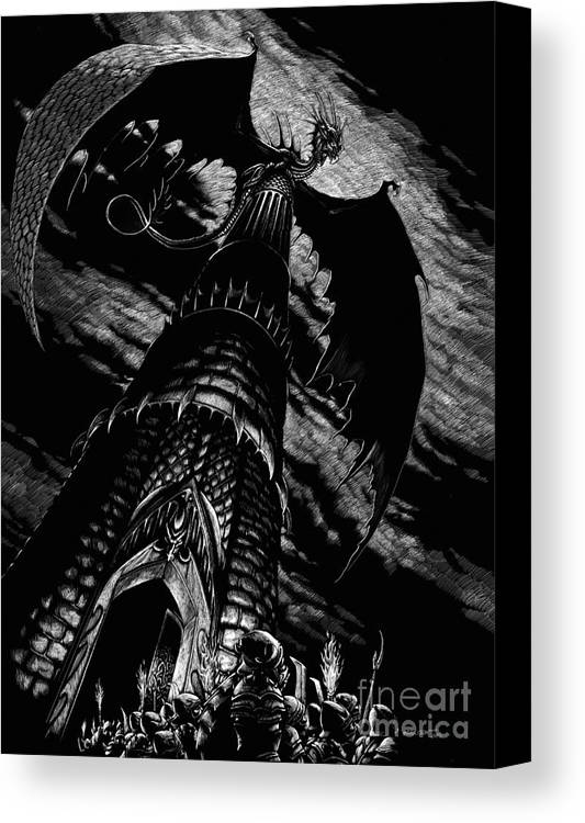 Dragon Canvas Print featuring the drawing Dragon Tower by Stanley Morrison