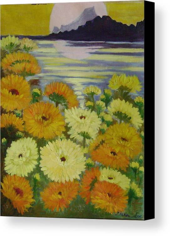 Floral Canvas Print featuring the painting Dreamland Flowers by Lian Zhen