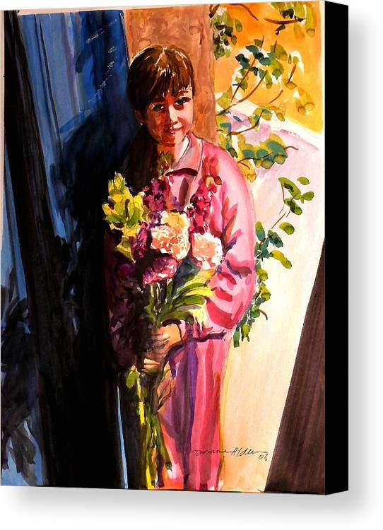 People Canvas Print featuring the painting Easter Bouquet by Doranne Alden