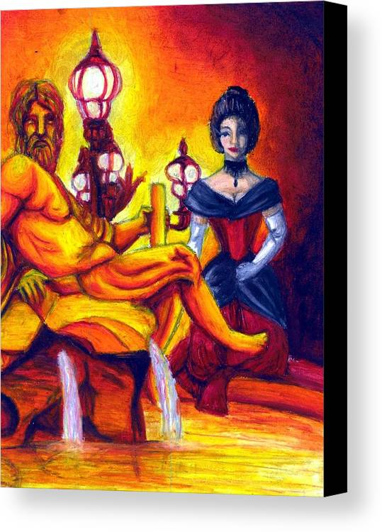 Fountain Canvas Print featuring the drawing Evening Fire by Scarlett Royal