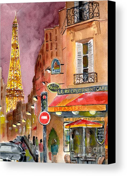 Painting Canvas Print featuring the painting Evening In Paris by Sheryl Heatherly Hawkins