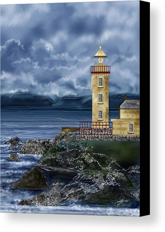 Lighthouse Canvas Print featuring the painting Fanad Head Lighthouse Ireland by Anne Norskog