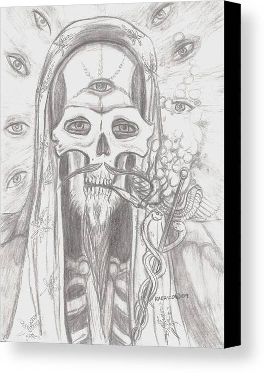 Skeleton.eyes Canvas Print featuring the drawing Father Health And Wisdom by Americo Salazar