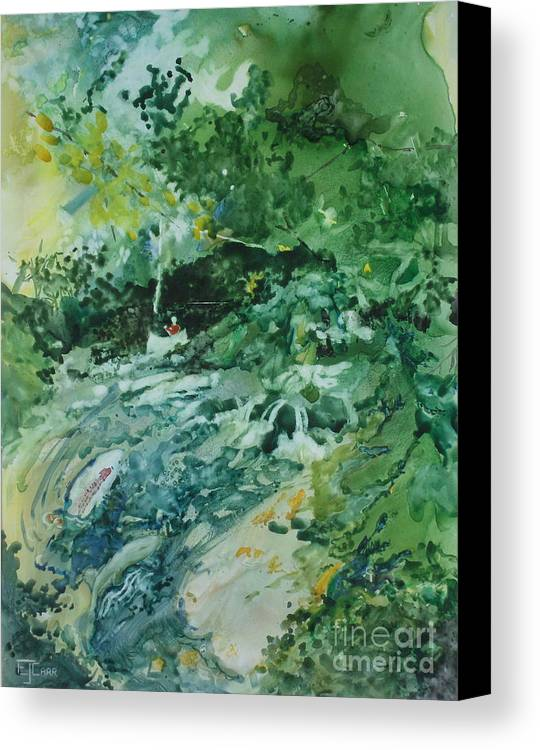 Green Canvas Print featuring the painting Fish Ahead by Elizabeth Carr