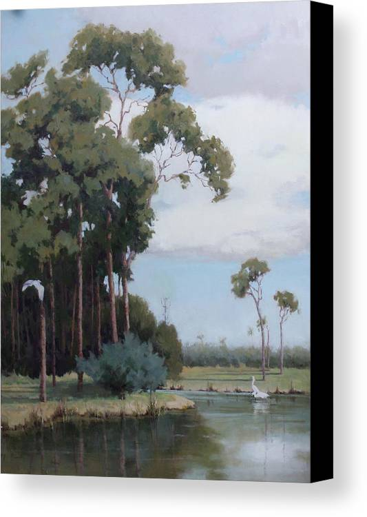Florida Canvas Print featuring the painting Florida Cypress With Birds by Hope Reis