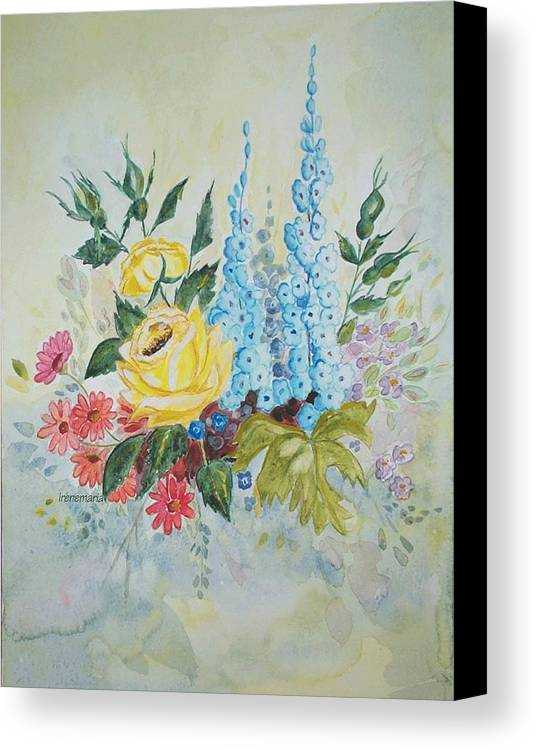 Roses Flowers Canvas Print featuring the painting Flower Bouquet by Irenemaria Amoroso