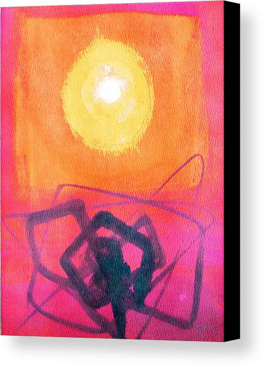 Abstract Yellow Orange Red Black Brush Strokes Enlightened Emotions Free Canvas Print featuring the painting Freeing The Tangled Mind by Jennifer Baird